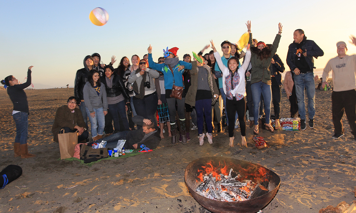 Happy Students by the Bonfire