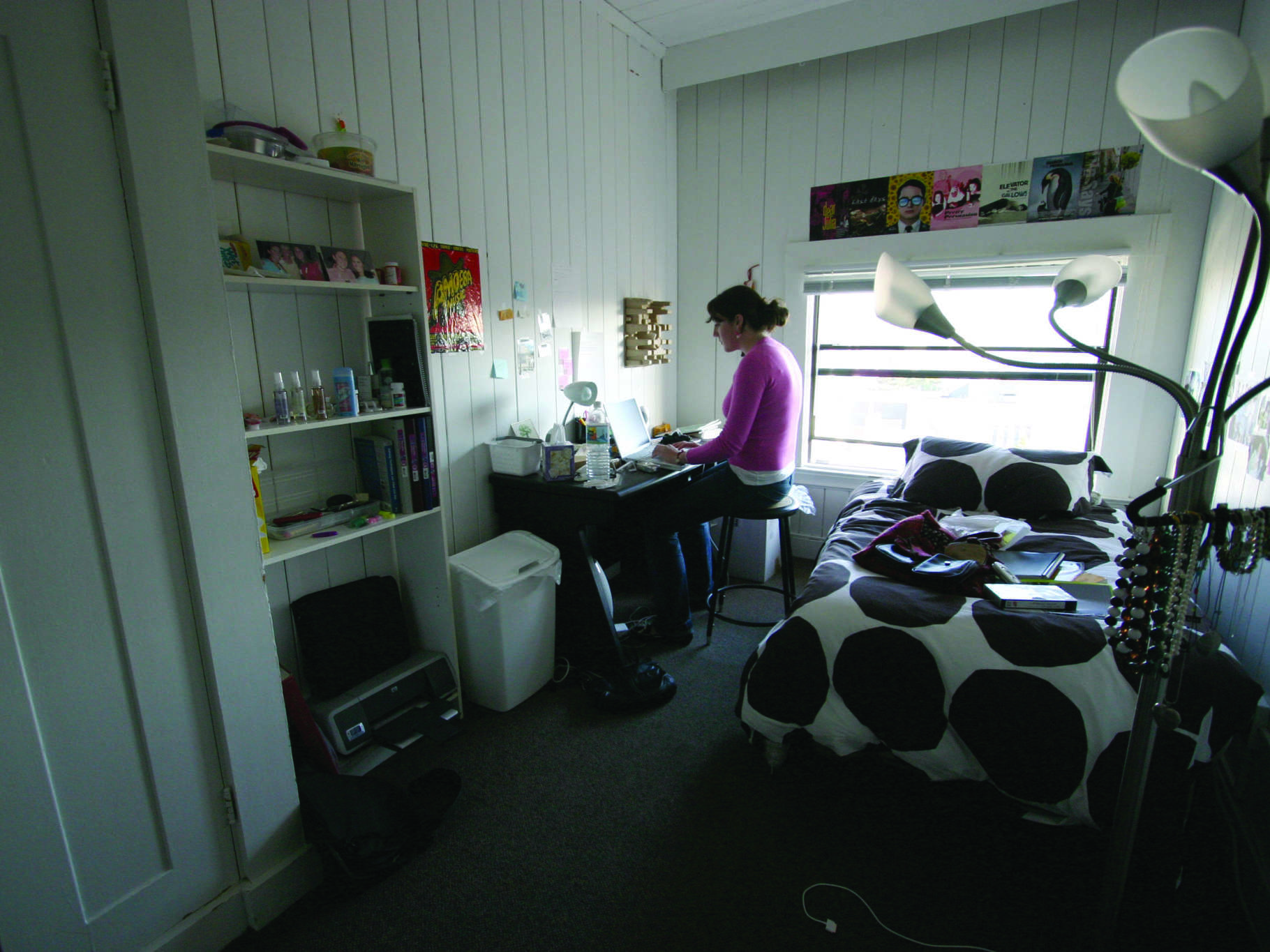 Girl on Computer Inside Bedroom