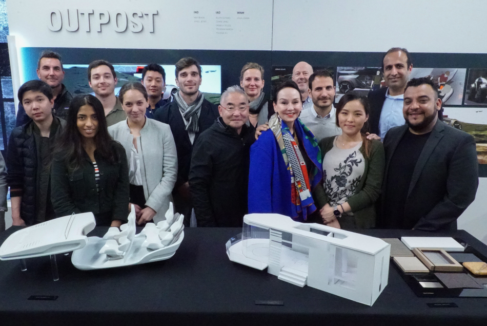 Industrial Design students with faculty and President Stephens