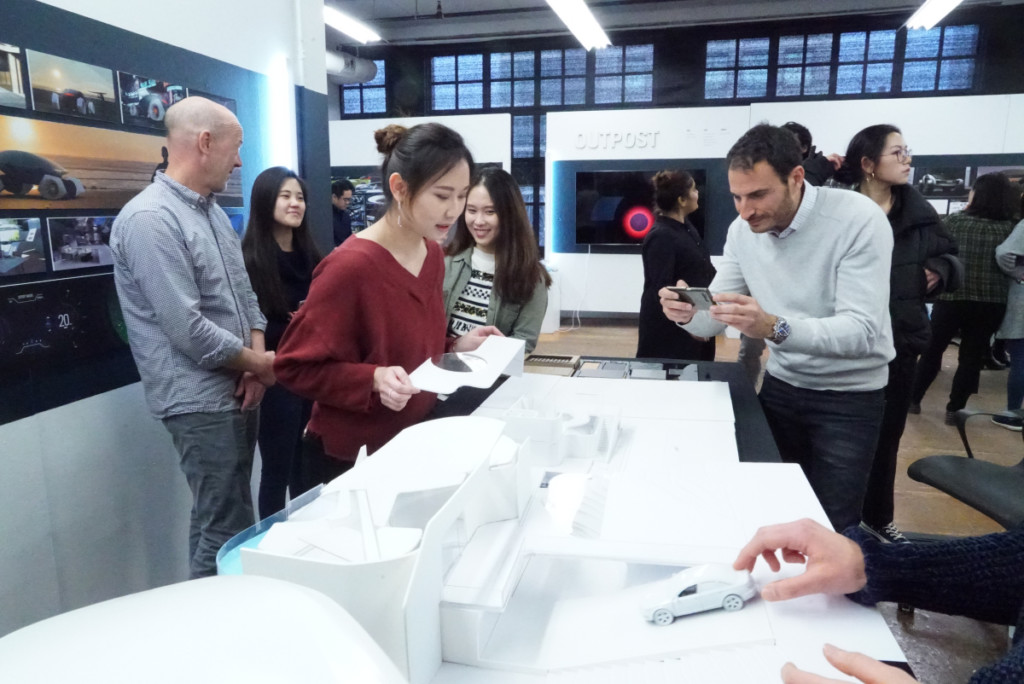 Industrial Design students with scale models