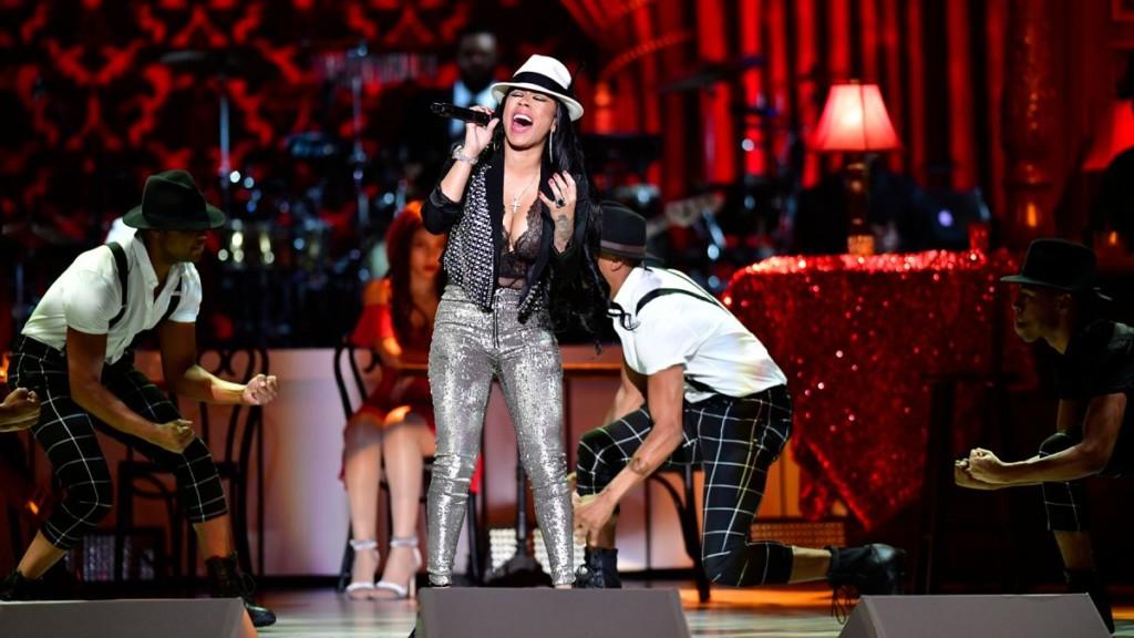 Keyshia Cole performing at the BET Awards