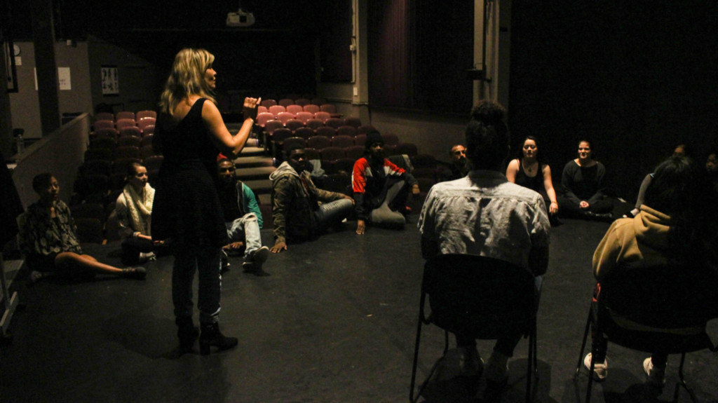 acting students in stage rehearsal