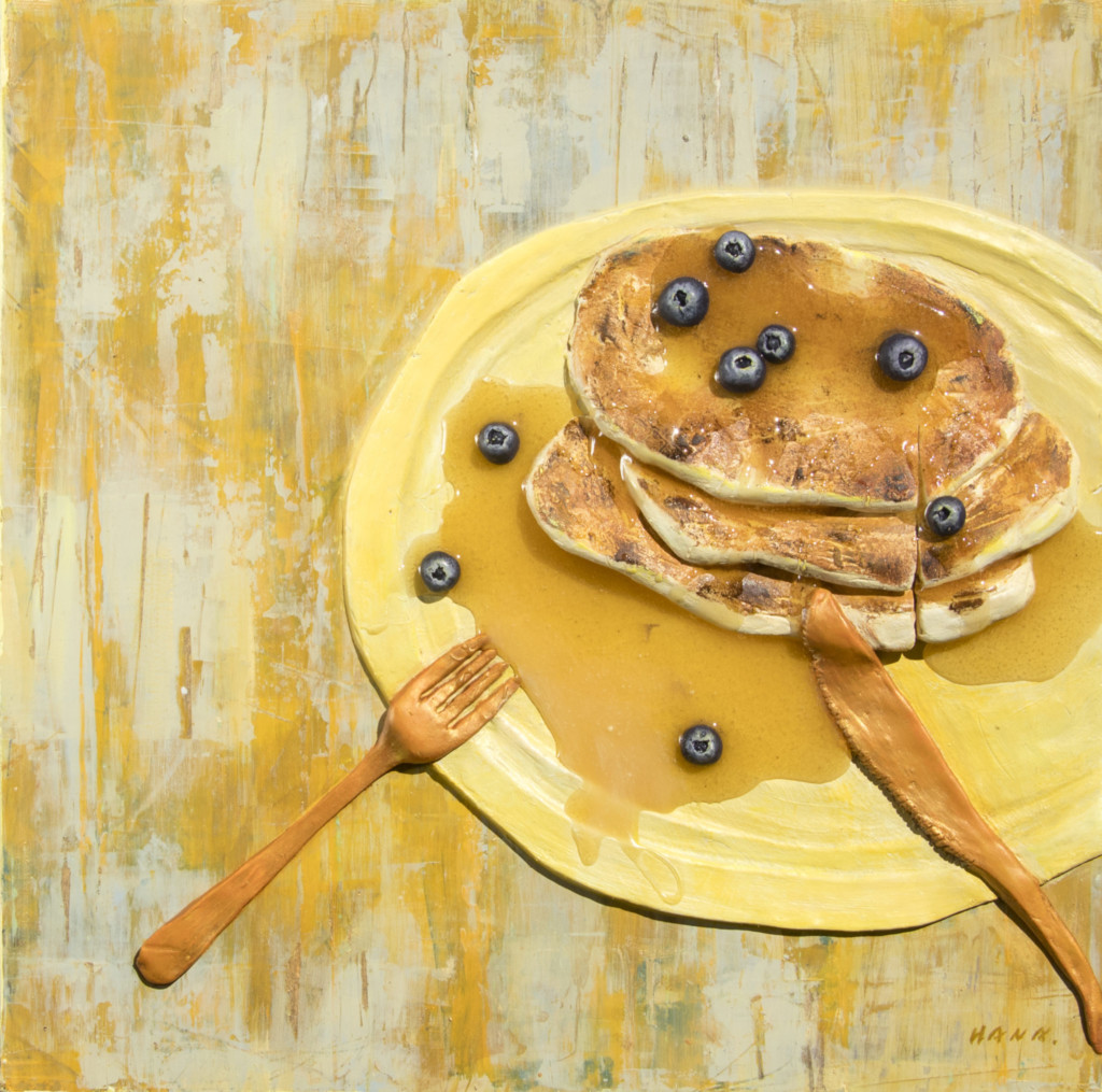 An image of a pancake and blueberries created by Hana Jung
