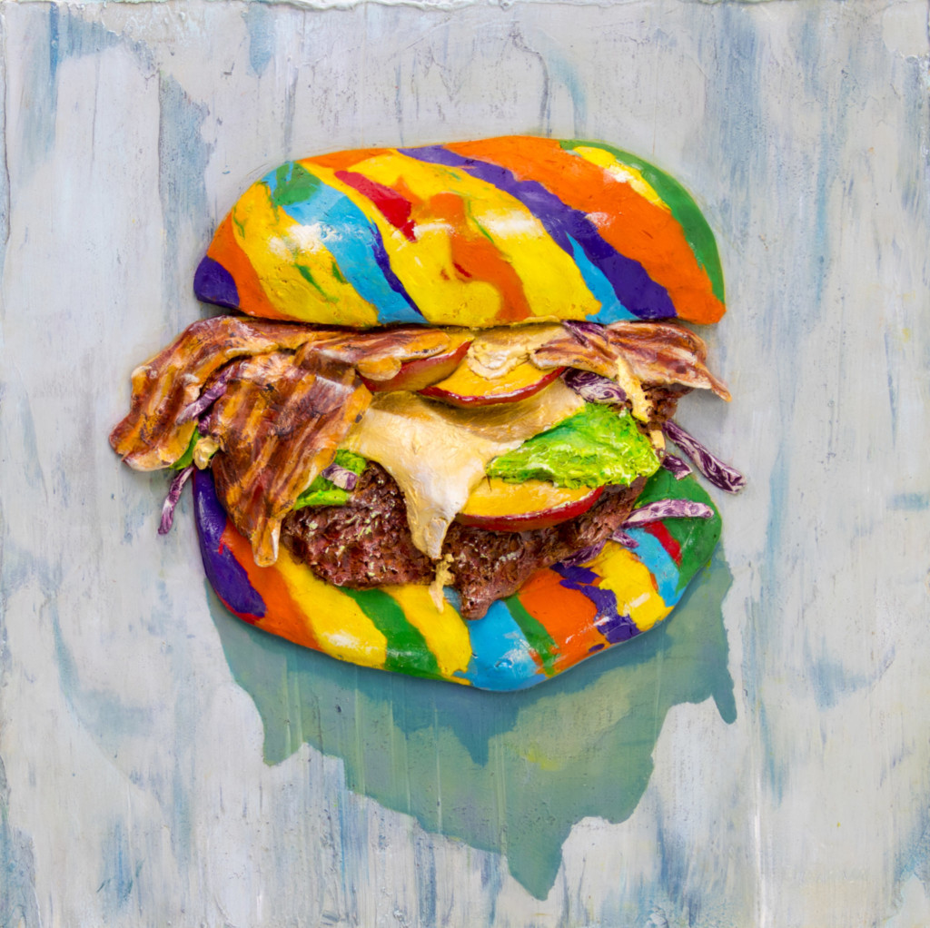An image of a rainbow-colored burger created by Hana Jung