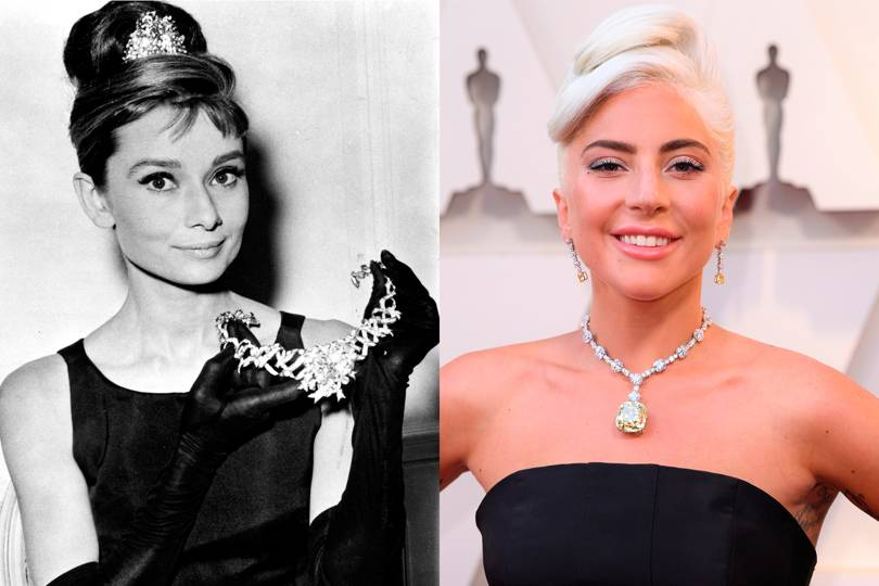 A side-by-side of Audrey Hepburn and Lady Gaga wearing the Tiffany Diamond