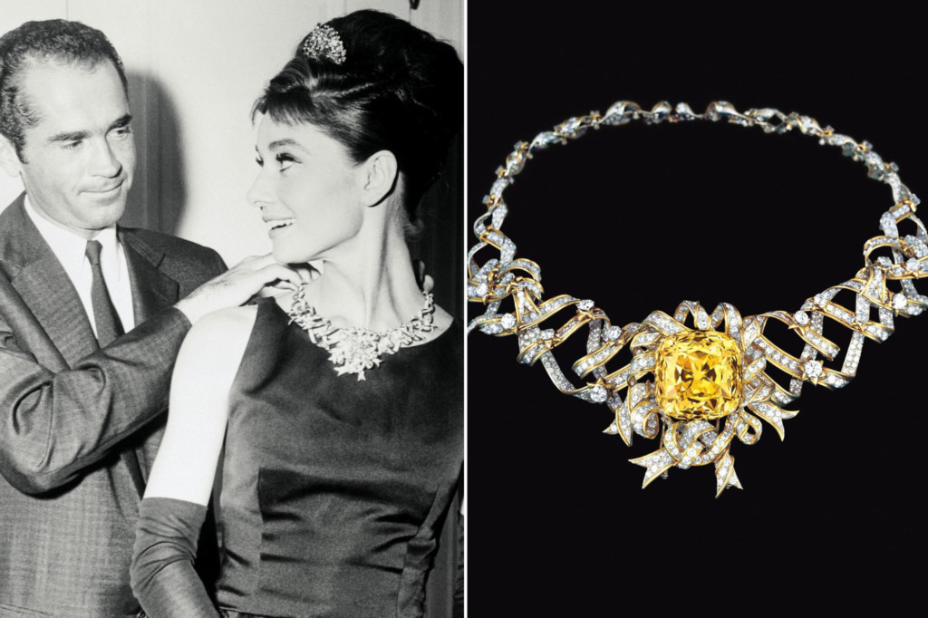 Audrey Hepburn wearing the Tiffany diamond, accompanied by a close-up of the diamond