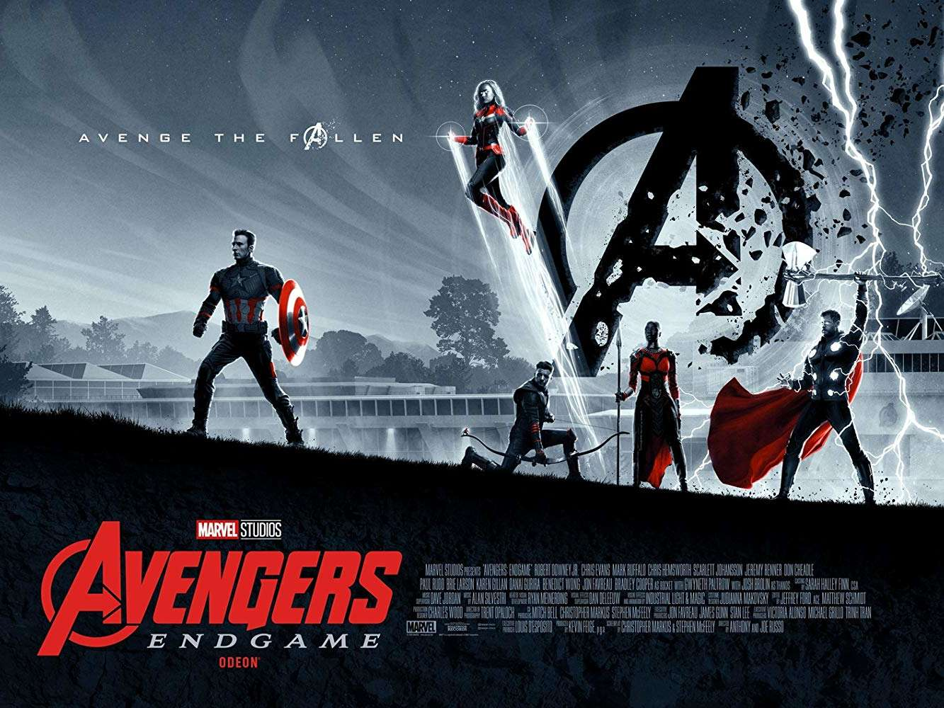 An image of the Avengers standing in a field, left to right: Captain America, Captain Marvel, Hawkeye, Okoye, and Thor
