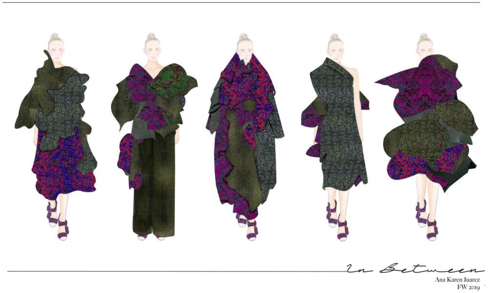 Five billowing outfits shaped like flowers by Ana Karen Juarez Ibarra