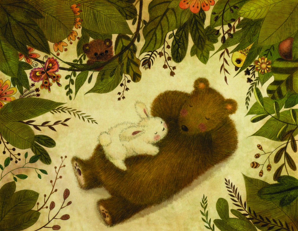 A drawing by Xiran Wang showing a bunny and a bear nap in a forest
