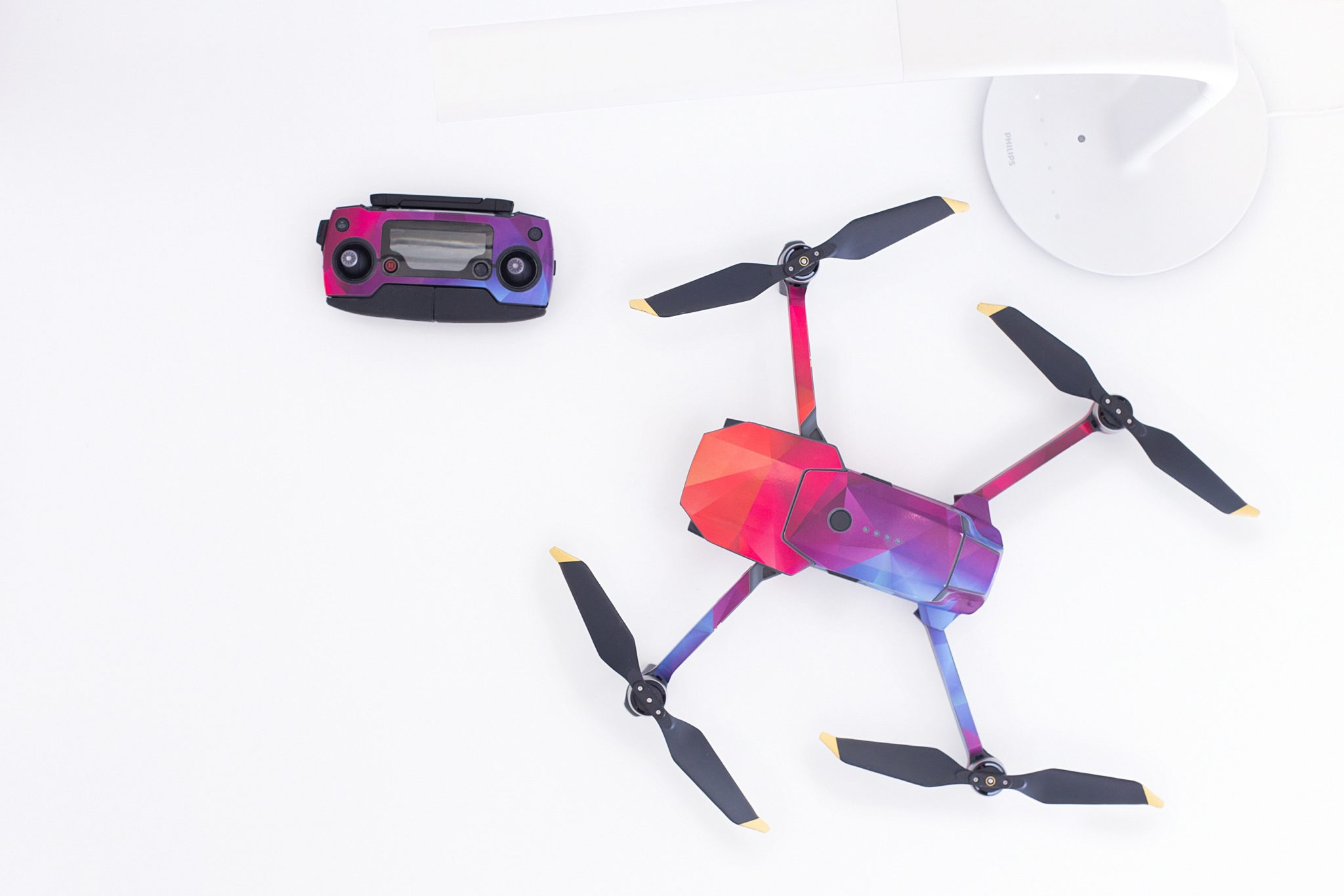 A pink and purple drone
