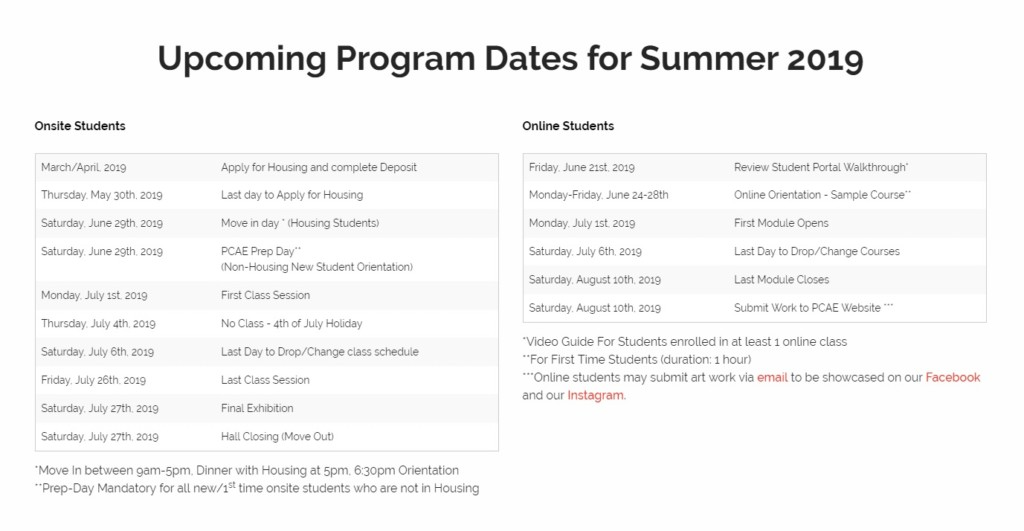 An image of the PCAE Summer Semester schedule, also available on the Summer PCAE site
