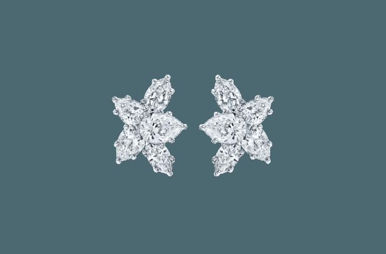 Large diamond earrings by Harry Winston