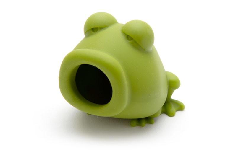 A light green frog with a suction cup mouth