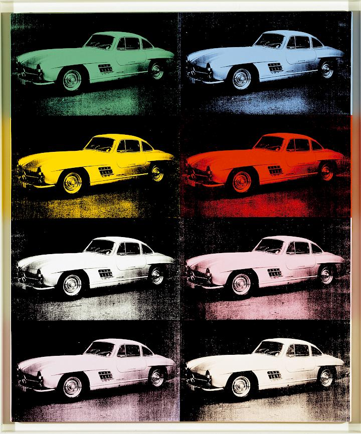 Eight images of the same Mercedez-Benz, tinted different colors