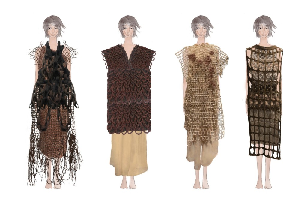 Lineup of four fisherman net-themed outfits
