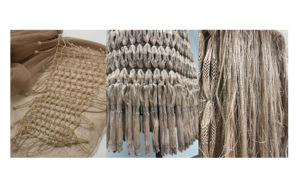 Closeup on netting and knit design
