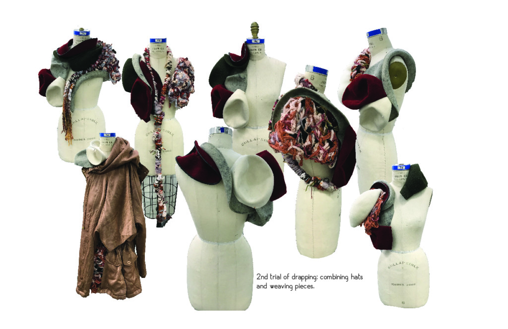 Draping test with hats and woven pieces on mannequins