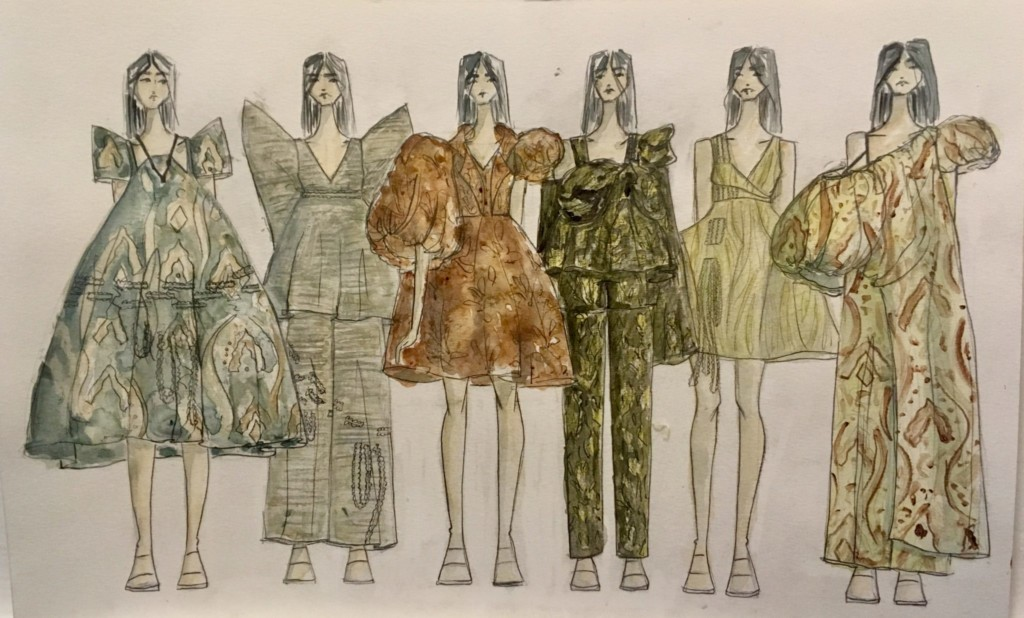 Lineup of gowns and outfits with big puffy sleeves