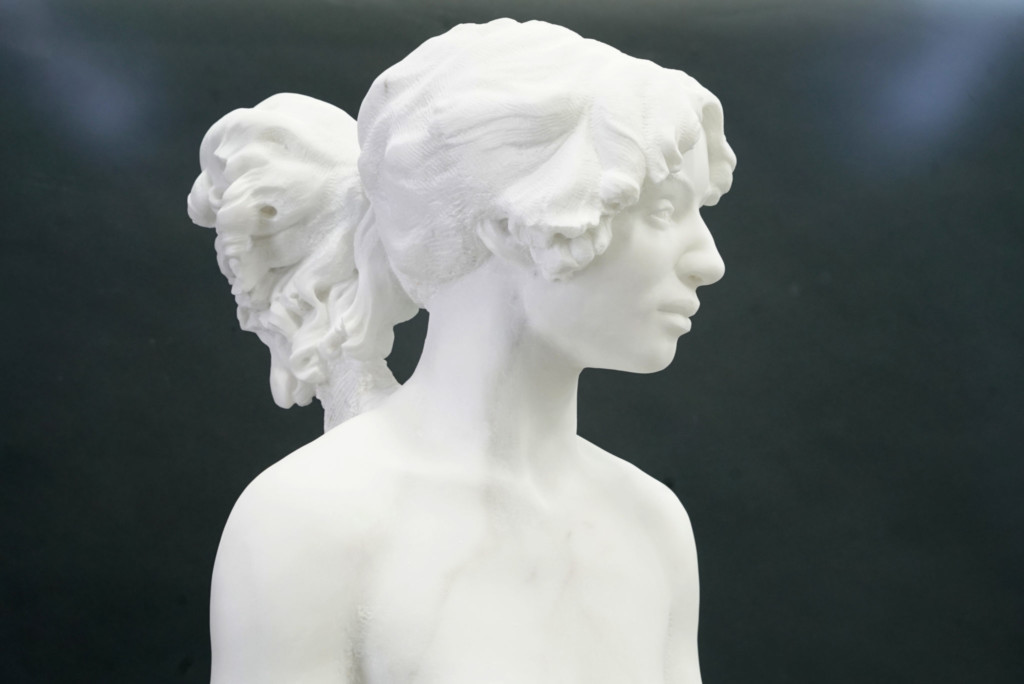Sculpted head of a woman