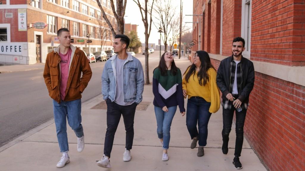friends happily walking