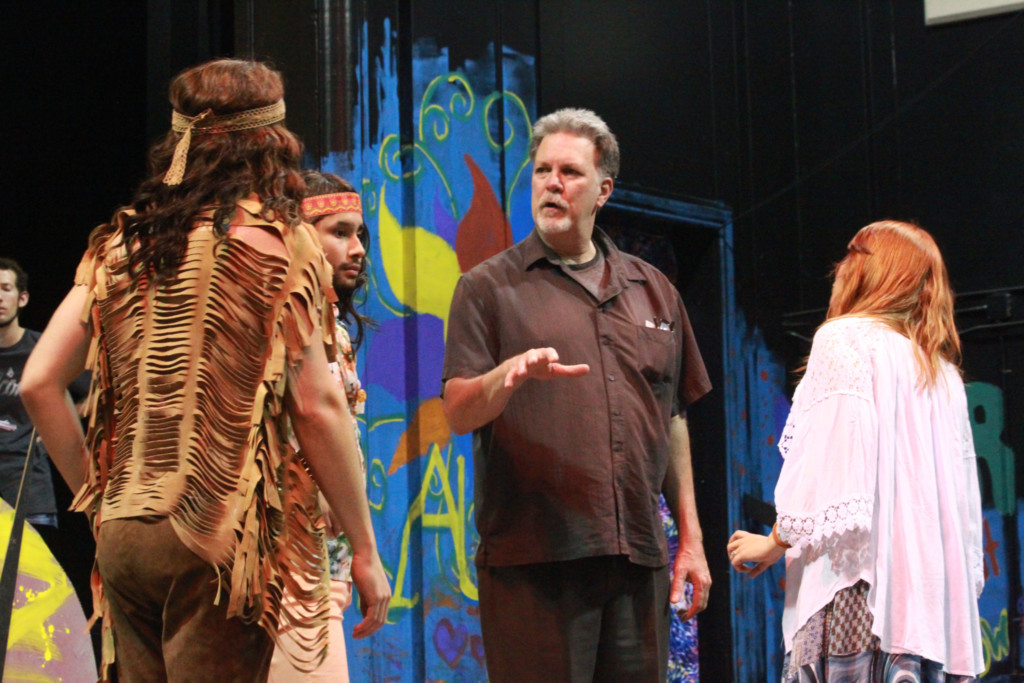 acting director Clark Houson Lewis working with actors on Hair