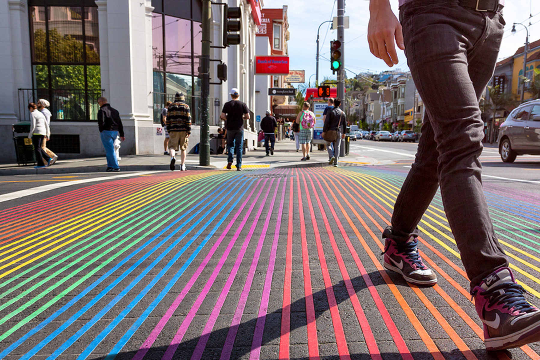 castro district rainbow intersection