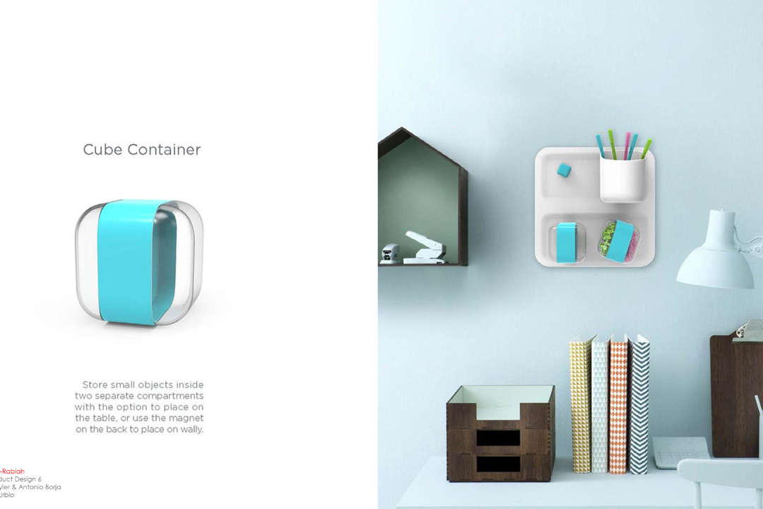 Cube wall container by Abeer Al-Rabiah
