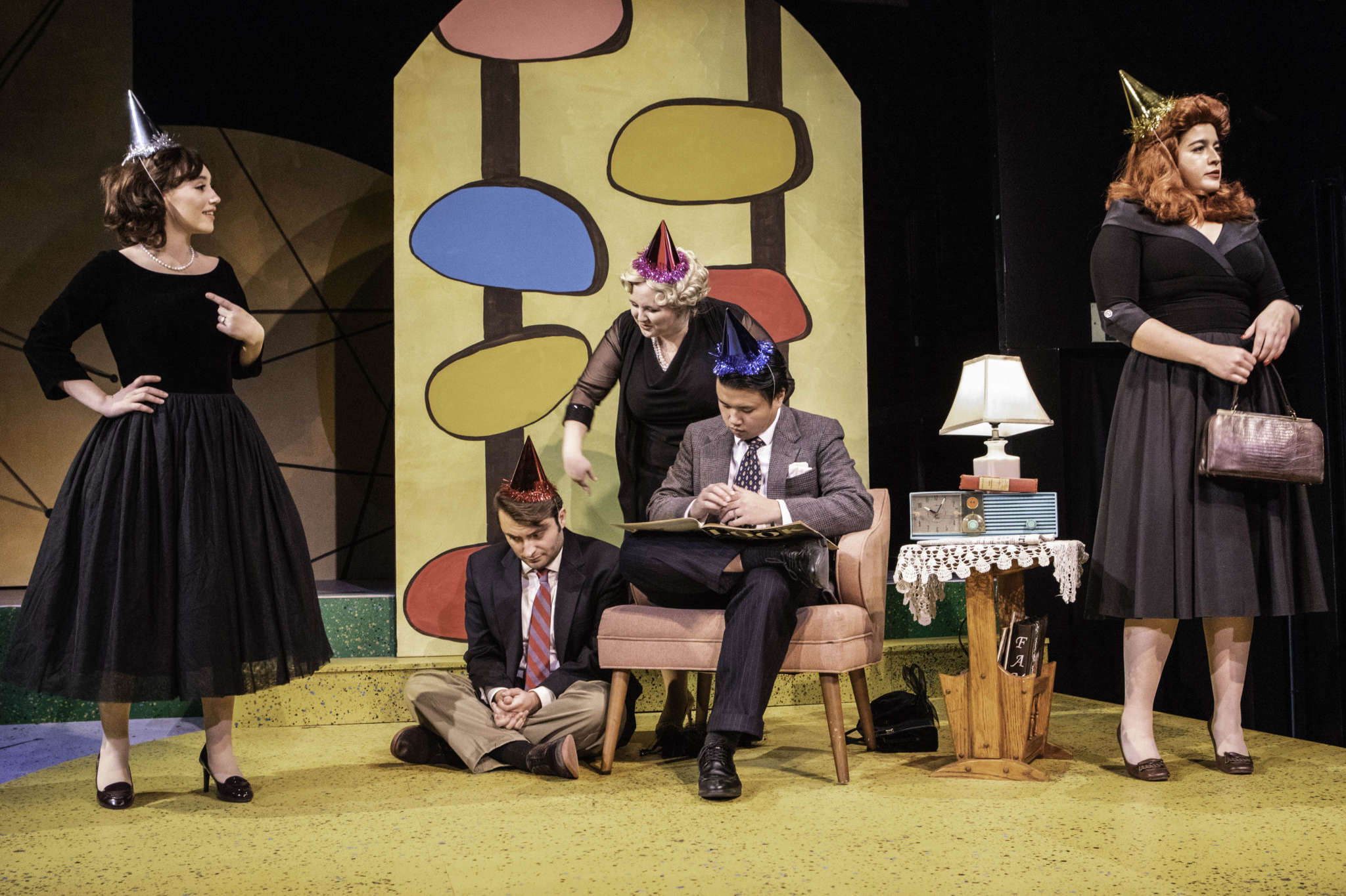 Students acting in the stage production Marriage of Bette and Boo