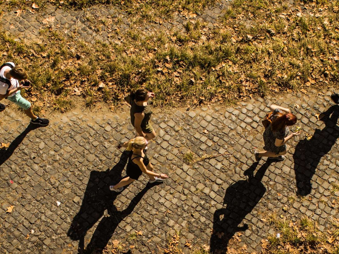 students walking in summer