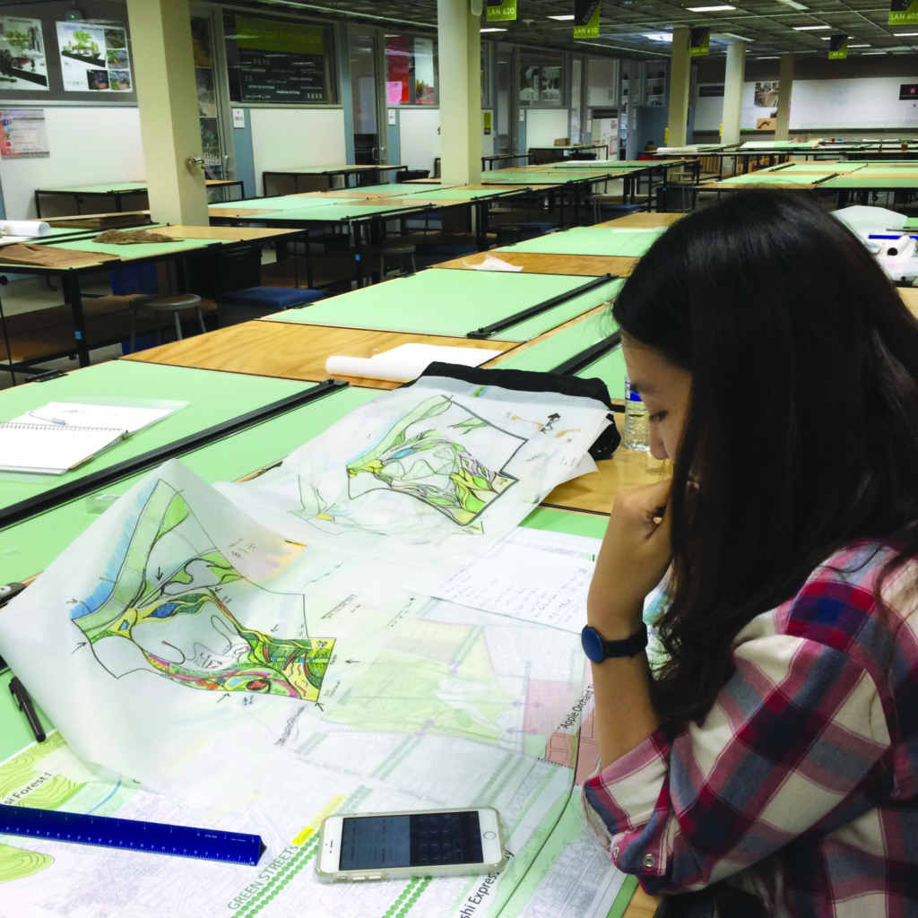 Landscape Architecture student drafting