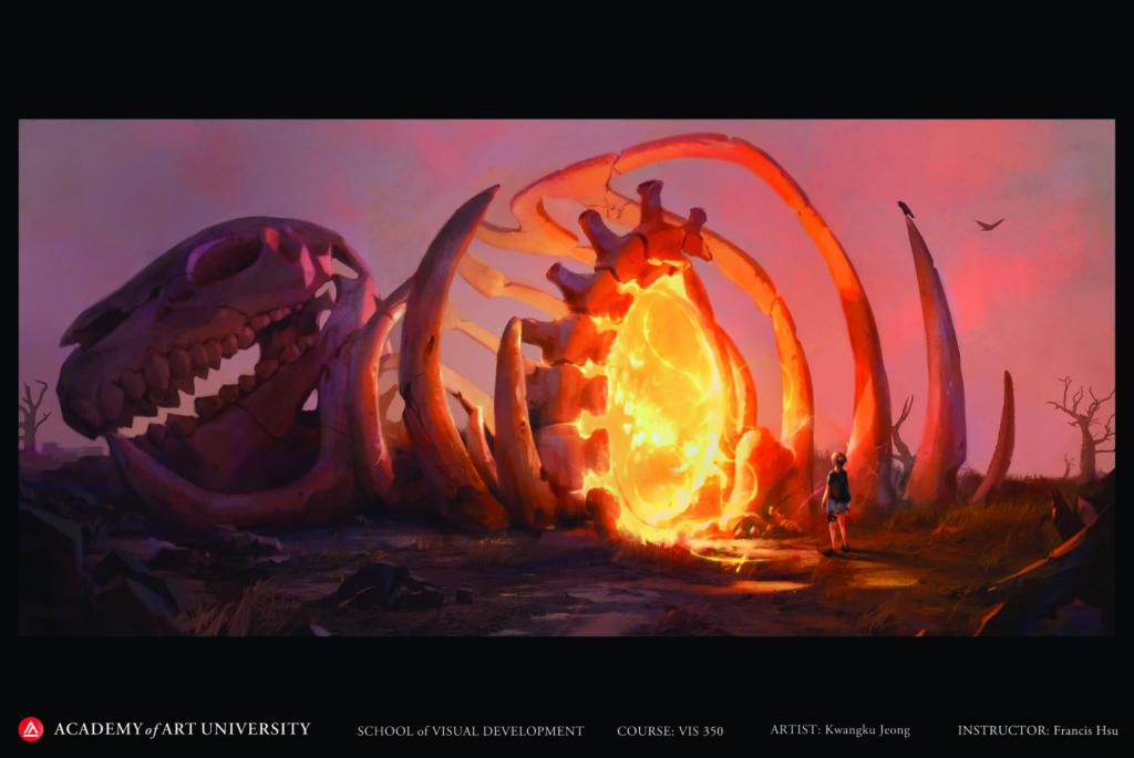 Image of dinosaur skeleton by student Kwangku Jeong