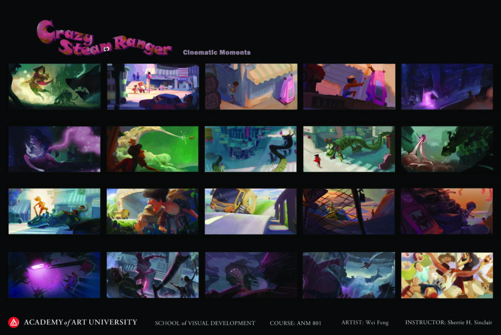Scene thumbnails by student Wei Feng