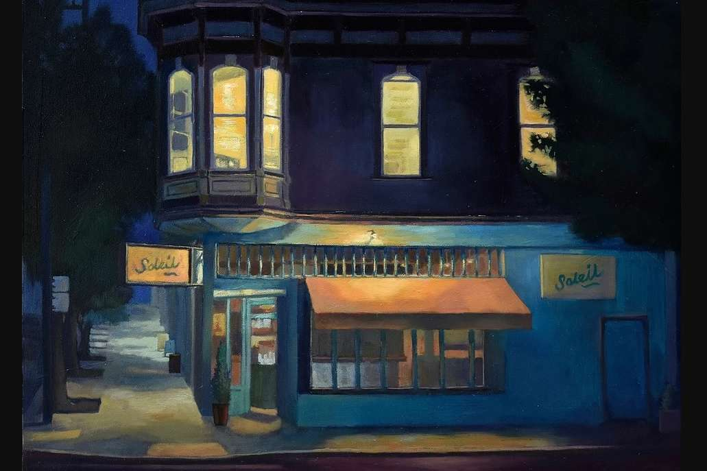 Mijin Kwon-Night-Scene-of-Cafe-oil-painting