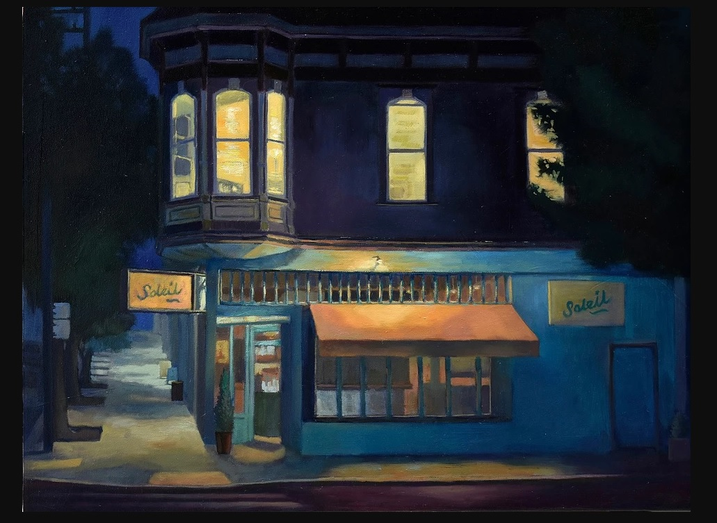 Mijin Kwon-Night-Scene-of-Cafe-oil-painting