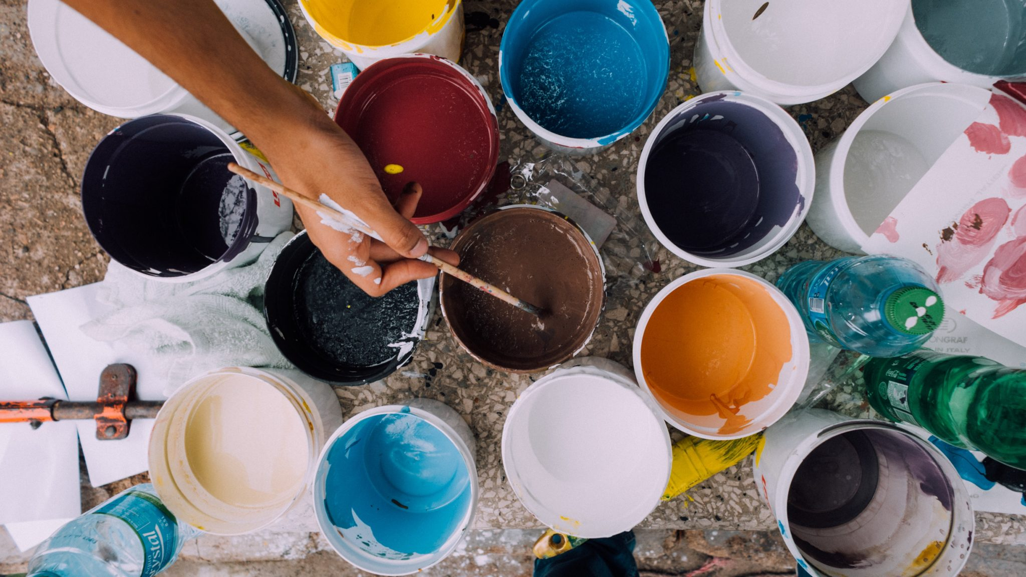 academy weekly colorful paint buckets