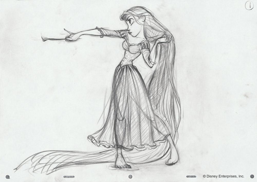 Rapunzel Holding a Pan by Glen Keane