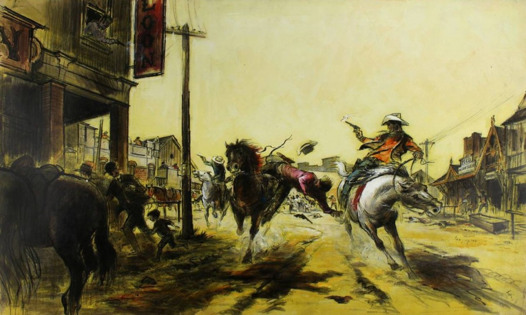 Cowboy Concept Art by Tyrus Wong