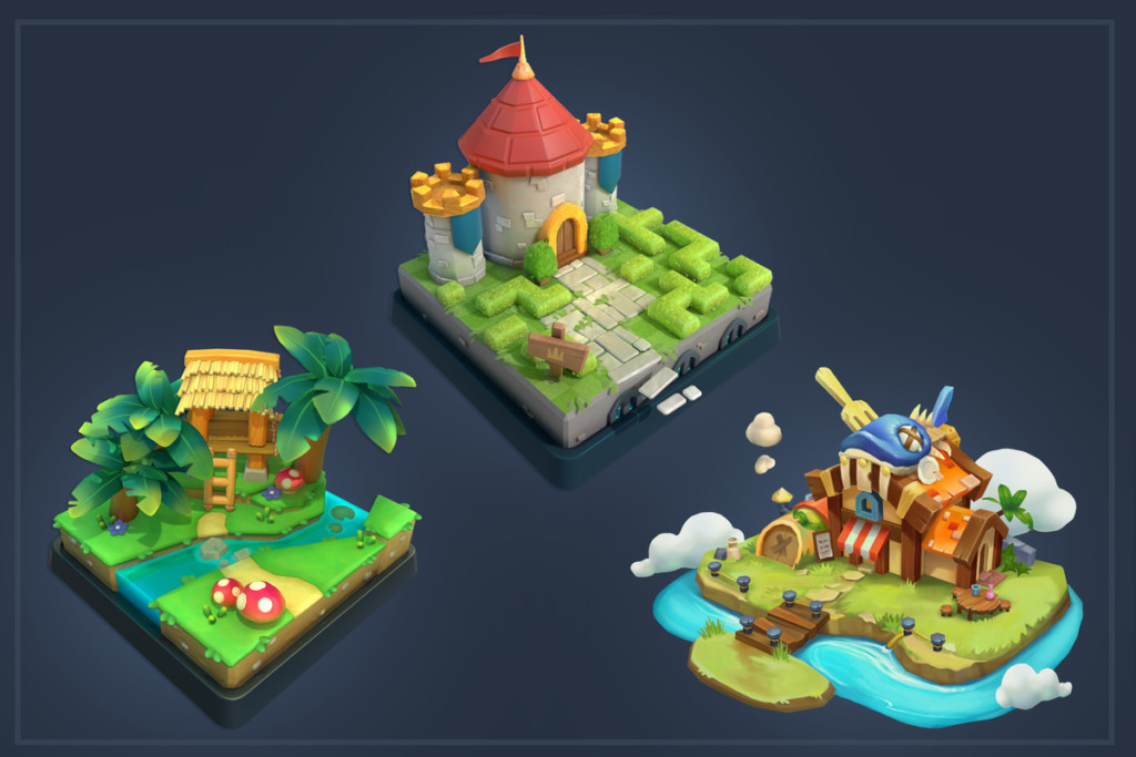 """""""Castle, Jungle, and Restaurant"""" concept art by Game Development MFA student ShuYi Chu"""