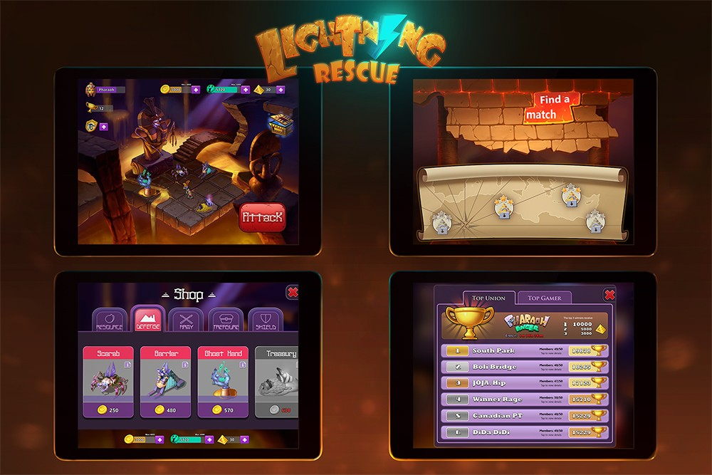 """Lightning Rescue"" mobile interface design by Game Development MFA student Yujia Yang"