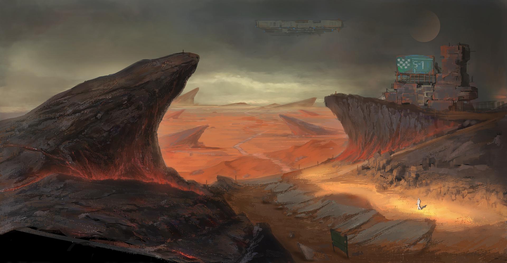 Black Mountain Desert Concept Art by Game Development student Weiyi Qin