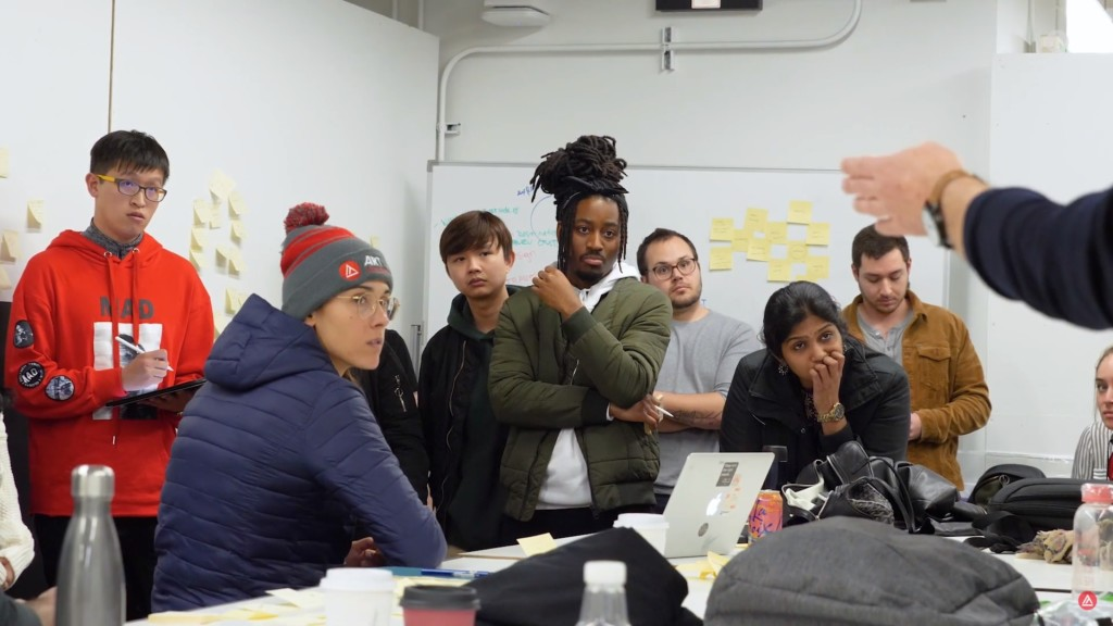 Academy students split into teams to take on a design challenge from Subaru.