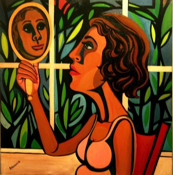 fine art-faith ringgold-woman in mirror-artsy