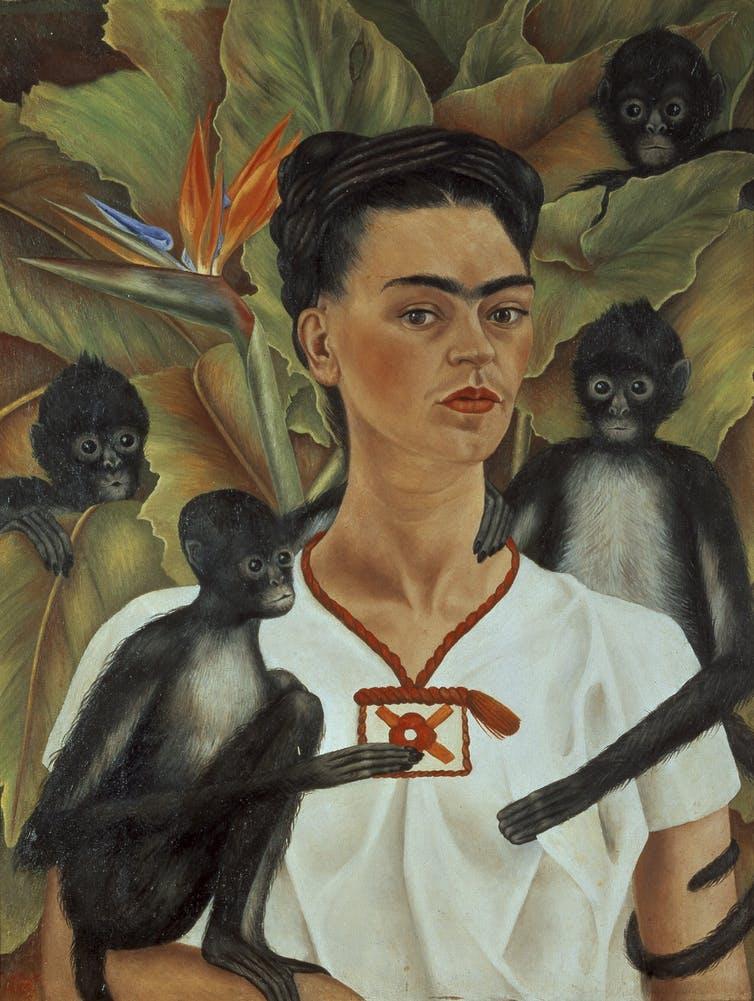 pets in art-kahlo self-portrait with monkeys 1943-saatchiart