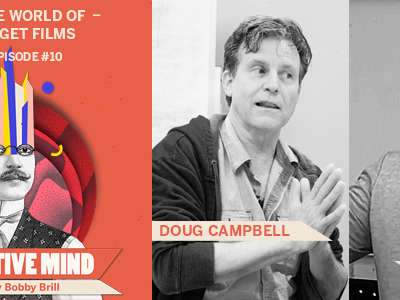 Creative Mind Podcast Logo, next to photos of Doug Campbell and Chris Moore talking