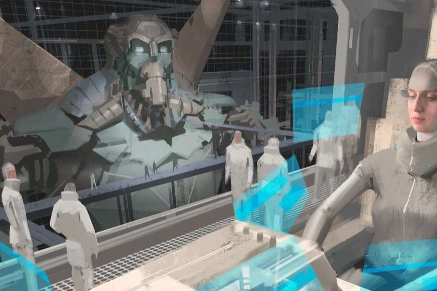 Drawing of futuristic woman in uniform sitting in a science fiction facility with fellow scientists and a large robot visible through a window
