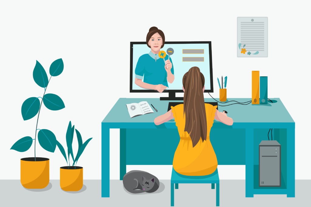 Cartoon of a teacher teaching a student via online conference