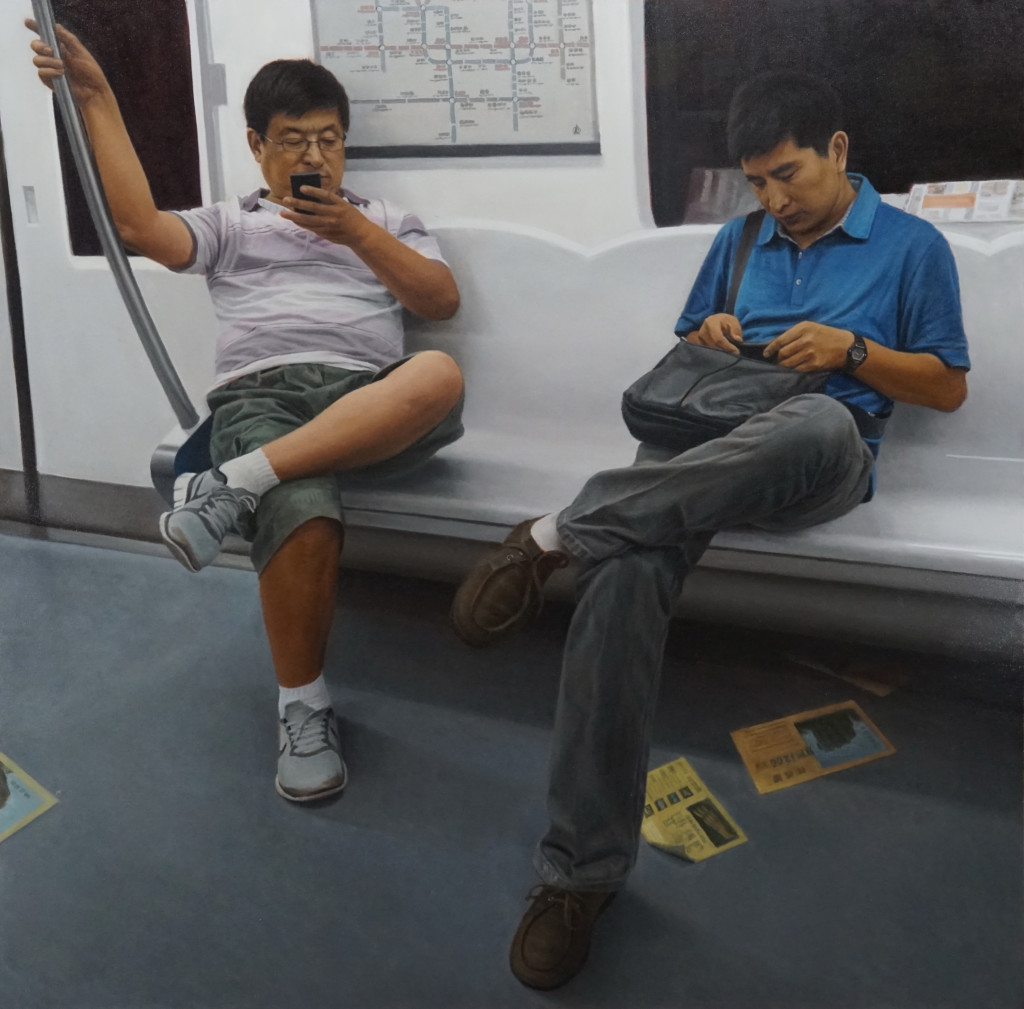 """Painting of two men sitting on a subway, called """"Subway"""" by Bing Zhang"""