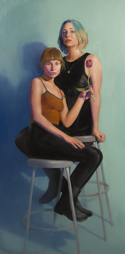 """Painting of 2 women sitting close to each other, called """"Together"""" by Christine Taylor"""