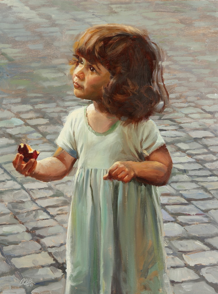 Painting of a small Roman girl standing in the street, looking up by Craig Nelson