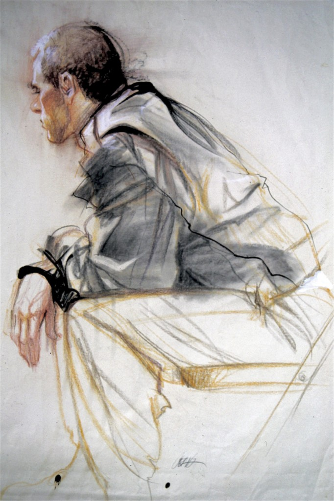 Painting of a man sitting, leaning forward by Craig Nelson